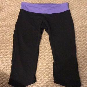 lululemon Black and Purple Capri Workout Pants